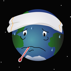 A cartoon like illustration of the feverish planet Earth