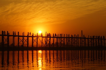 U bein bridge at sunset in Amarapura near Mandalay, Myanmar