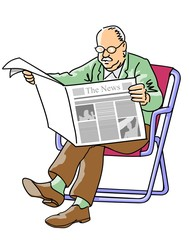 Grandfather reading the newspaper