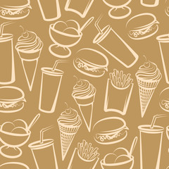 seamless background with fast food