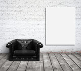 chair and poster on wall