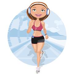 Mujer corriendo junto a la playa