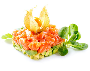 Salmon Tartar over White Background