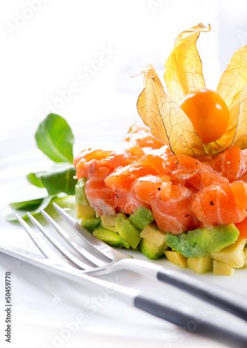 Salmon Tartar over White