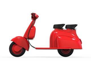 Red Old Vintage Scooter