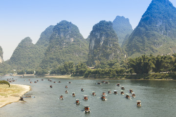 Sunset landscpae of yangshuo in guilin,china