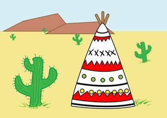 Cactus and home cartoon