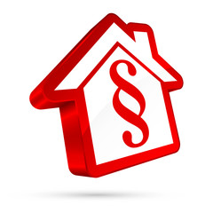 3D House Icon Paragraph White/Red