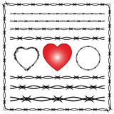 Barbed wire isolated, crown of thorns, heart, white background