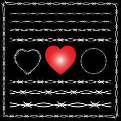 Barbed wire corners, dividers, spikes, heart, black background