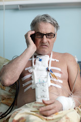 Patient with mobile phone