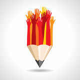 happy hands with pencil vector