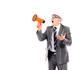Business man yelling through a megaphone on white background
