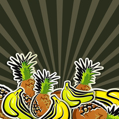 background with tropic fruit