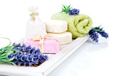 toiletries for relaxation - towel, soap, isolated on white backg poster