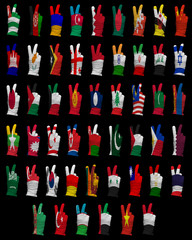 National flags of Asia ,victory sign