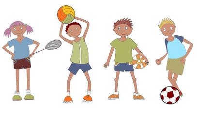 Set of four little cartoon sportsmen.