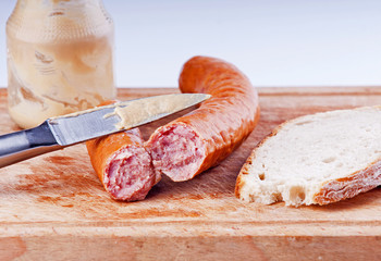 Traditional pork sausage  with bread