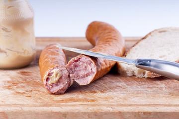 Traditional pork sausage with mustard