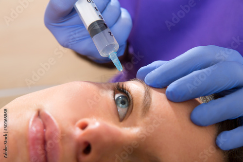 poster of Anti aging facial mesotherapy syringe on woman face