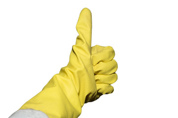 Yellow Rubber Glove Housecleaning Spring Cleaning Isolated
