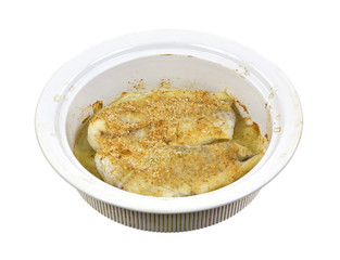 Breaded haddock in baking dish