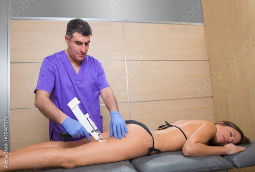 poster of mesotherapy gun therapy for cellulite doctor with woman