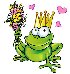 frog with bouquet
