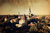 Panoramic vintage style view of Tallinn old city center