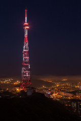 TV broadcasting tower at night