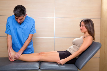 Ankle and Foot examination doctor to woman patient