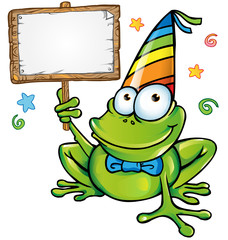 happy frog party with signboard
