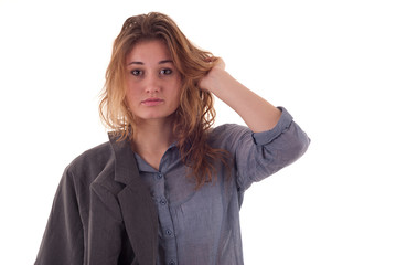 Młoda kobieta wyglądająca jak studentka w luźnej sytuacji