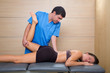 muscle power therapy on woman leg knee
