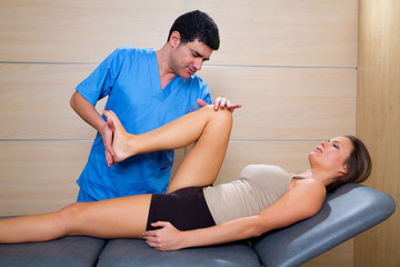 hip mobilization therapy by physiotherapist to woman patient