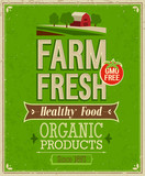 Vintage Farm Fresh Poster. Vector illustration.
