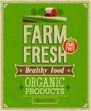 Fototapety Vintage Farm Fresh Poster. Vector illustration.
