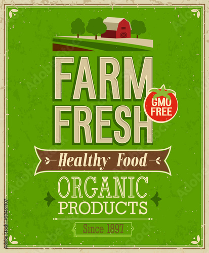 In de dag Vintage Poster Vintage Farm Fresh Poster. Vector illustration.