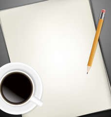 Sheets of paper, pecin and cup of coffee on gray desk