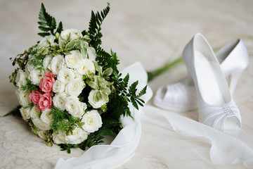 Wedding bouquet of white and pink roses
