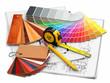 interior design. Architectural materials tools and blueprints