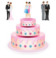 Gâteau de mariage couples interchangeables-2