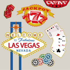 Casino Stickers. Vector Illustration