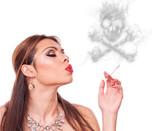Woman blowing smoke-skull
