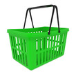Empty Green Shopping Basket isolated on white