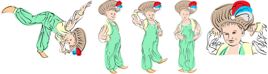 5 vector figures a little boy in eastern costume Sultan