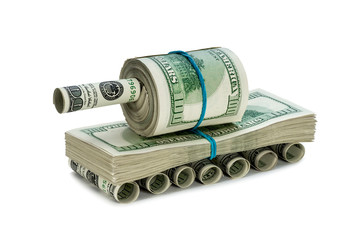 Tank made ​​of money