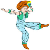 Vector figures a dancing little boy in eastern costume