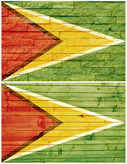 Vintage wall flag of Guyana collage