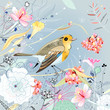 floral background with a bird
